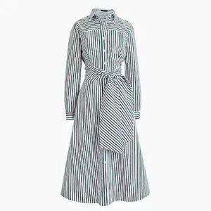 J Crew | Green Stripe Tie Waist Shirt Dress